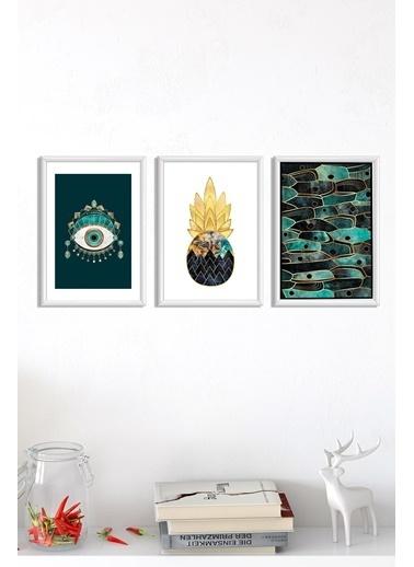 Lyn Home & Decor Yeşil Göz Çerçeveli Poster 3 Lü Tablo 3 Adet 23,5X33,5 Beyaz